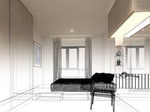 Progettazione di schizzo del salone interno Fotografie Stock