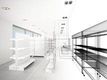 Progettazione di schizzo del supermercato Fotografie Stock Libere da Diritti