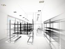 Progettazione di schizzo del supermercato Immagine Stock