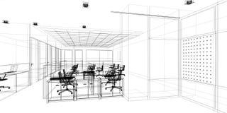 Progettazione di schizzo dell'ufficio interno Immagine Stock Libera da Diritti