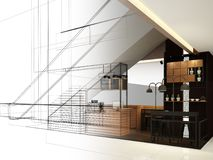 Progettazione di schizzo della caffetteria, Immagini Stock