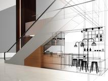 Progettazione di schizzo della caffetteria, Fotografia Stock Libera da Diritti