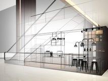 Progettazione di schizzo della caffetteria, Fotografie Stock