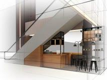 Progettazione di schizzo della caffetteria, Immagini Stock Libere da Diritti