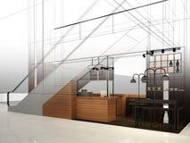 Progettazione di schizzo della caffetteria, Fotografia Stock