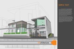 Progettazione di schizzo della casa sul tavolo da disegno Fotografia Stock