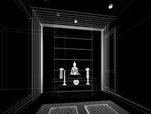 Progettazione di schizzo della stanza interna di Buddha Immagini Stock