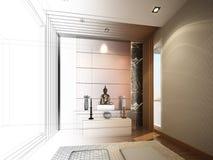 Progettazione di schizzo della stanza interna di Buddha Fotografia Stock Libera da Diritti