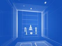 Progettazione di schizzo della stanza interna di Buddha Fotografia Stock