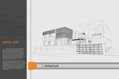 Progettazione di schizzo di edificio pubblico sul tavolo da disegno Fotografia Stock Libera da Diritti