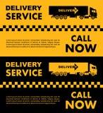 Progettazione di servizio di taxi sopra fondo giallo e nero Siluetta del camion di consegna Illustrazione piana di vettore bandie Fotografia Stock