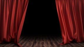 progettazione di seta rossa di lusso della decorazione delle tende del velluto dell'illustrazione 3D, idee Tenda rossa della fase Fotografie Stock Libere da Diritti