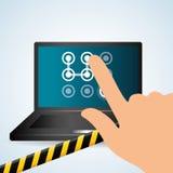 Progettazione di sistema di sicurezza, avvertimento e concetto di tecnologia Fotografia Stock Libera da Diritti