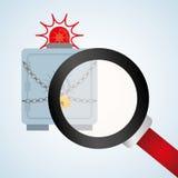 Progettazione di sistema di sicurezza, avvertimento e concetto di tecnologia Fotografie Stock
