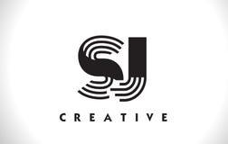 Progettazione di SJ Logo Letter With Black Lines Linea vettore Illus della lettera Immagini Stock Libere da Diritti