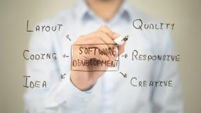 Progettazione di software, clipart di concetto, scrittura dell'uomo sullo schermo trasparente Fotografie Stock