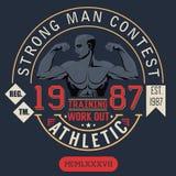 Progettazione di stampa della maglietta, grafici di tipografia, concorso dell'uomo forte illustrazione di stock
