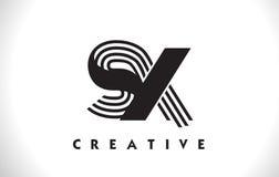 Progettazione di SX Logo Letter With Black Lines Linea vettore Illus della lettera Fotografia Stock Libera da Diritti