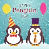 Progettazione di tema di giorno di consapevolezza del pinguino Due pinguini eleganti svegli con i palloni Illustrazione piana di  Fotografia Stock