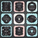 Progettazione di tipografia della lavagna delle carte di note di amore Fotografia Stock
