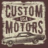 Progettazione di tipografia della maglietta, retro vettore dell'automobile, stampante i grafici, illustrazione tipografica di vet illustrazione vettoriale
