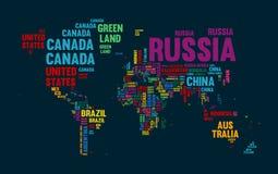 Progettazione di tipografia di nome di paese della mappa di mondo del testo Fotografia Stock Libera da Diritti