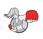 Progettazione di tiraggio combattente della donna immagini stock libere da diritti