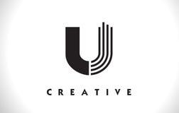 Progettazione di U Logo Letter With Black Lines Linea vettore Illust della lettera Immagini Stock Libere da Diritti