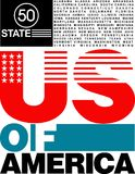 progettazione di U.S.A. di 50 stati della maglietta illustrazione di stock