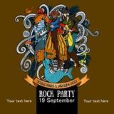 Progettazione di un manifesto per un partito della roccia per una conversazione di festa come un giorno 4 del pirata Fotografia Stock