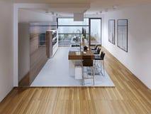 Progettazione di una cucina moderna con l'isola Fotografie Stock