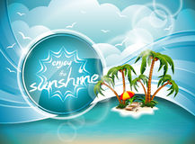 Progettazione di vacanza estiva di vettore con l'isola di paradiso. Fotografie Stock