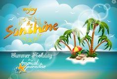 Progettazione di vacanza estiva di vettore con l'isola di paradiso. Immagini Stock
