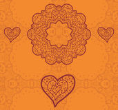 Progettazione di Valentine Card Vettore arancio ornamentale Immagini Stock