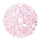 Progettazione di Valentine Day Line Icon Circle Immagini Stock Libere da Diritti