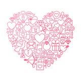 Progettazione di Valentine Day Line Icon Heart Illustrazione Vettoriale