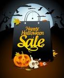 Progettazione di vendita di Halloween con gli attributi festivi Fotografia Stock