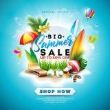 Progettazione di vendita di estate con il fiore, gli elementi di festa della spiaggia e le foglie esotiche su fondo blu Vettore f illustrazione di stock