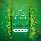 Progettazione di vendita di giorno del ` s di St Patrick, con il trifoglio e la lettera di tipografia su fondo verde Irlandese Lu illustrazione vettoriale