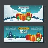Progettazione di vendita di santo Stefano con il sacco di carta del contenitore di regalo, ed il paesaggio nevoso royalty illustrazione gratis