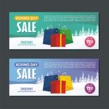 Progettazione di vendita di santo Stefano con il sacco di carta del contenitore di regalo, ed il paesaggio nevoso illustrazione di stock