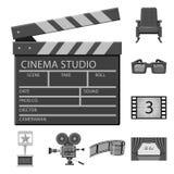 Progettazione di vettore di cinematografia e del logo dello studio Metta dell'icona di vettore di contaminazione e della cinemato illustrazione di stock