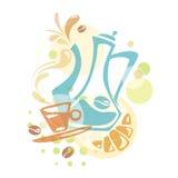 Progettazione di vettore con gli elementi del caffè Fotografia Stock