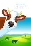 Progettazione di vettore con la mucca ed il paesaggio Immagine Stock Libera da Diritti