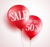 Progettazione di vettore dei palloni di vendita con 50% fuori da colore rosso nel fondo bianco illustrazione di stock