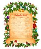 Progettazione di vettore del calendario del nuovo anno 2018 di Natale illustrazione vettoriale