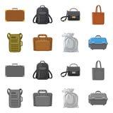 Progettazione di vettore del logo del bagaglio e della valigia Insieme dell'icona di vettore di viaggio e della valigia per le az illustrazione di stock