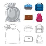 Progettazione di vettore del logo del bagaglio e della valigia Insieme del simbolo di riserva di viaggio e della valigia per il w illustrazione vettoriale