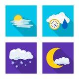 Progettazione di vettore del logo di clima e del tempo Insieme del simbolo di riserva della nuvola e del tempo per il web illustrazione di stock