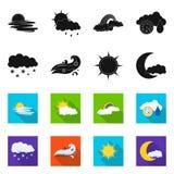 Progettazione di vettore del logo di clima e del tempo Insieme del simbolo di riserva della nuvola e del tempo per il web royalty illustrazione gratis